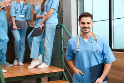 medical student in hall